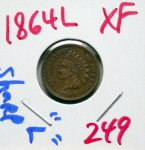 1864 L Indian Head Cent in XF