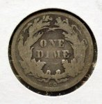 1876 CC Seated Dime in VG