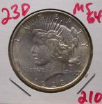 1923 D Peace Dollar in Mint State 64!