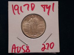 1917 D Type1 Standing Liberty Quarter in AU 58!