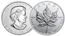 Silver Canadian Maple Leafs 1ozt! Random Dates.