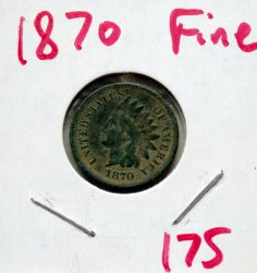 1870 Indian Head Cent in Fine