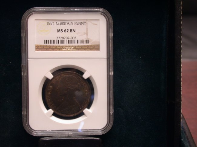 1871 Great Britian Large Penny MS 62 Brown! - Click Image to Close