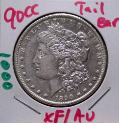 1890 CC Tailbar Morgan Dollar in XF/AU!