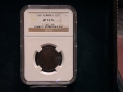1871 Great Britian 1/2 Penny MS 61 Brown!