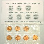 1982 7 Piece Lincoln Cent Collection
