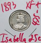 1893 Isabella Quarter in XF+