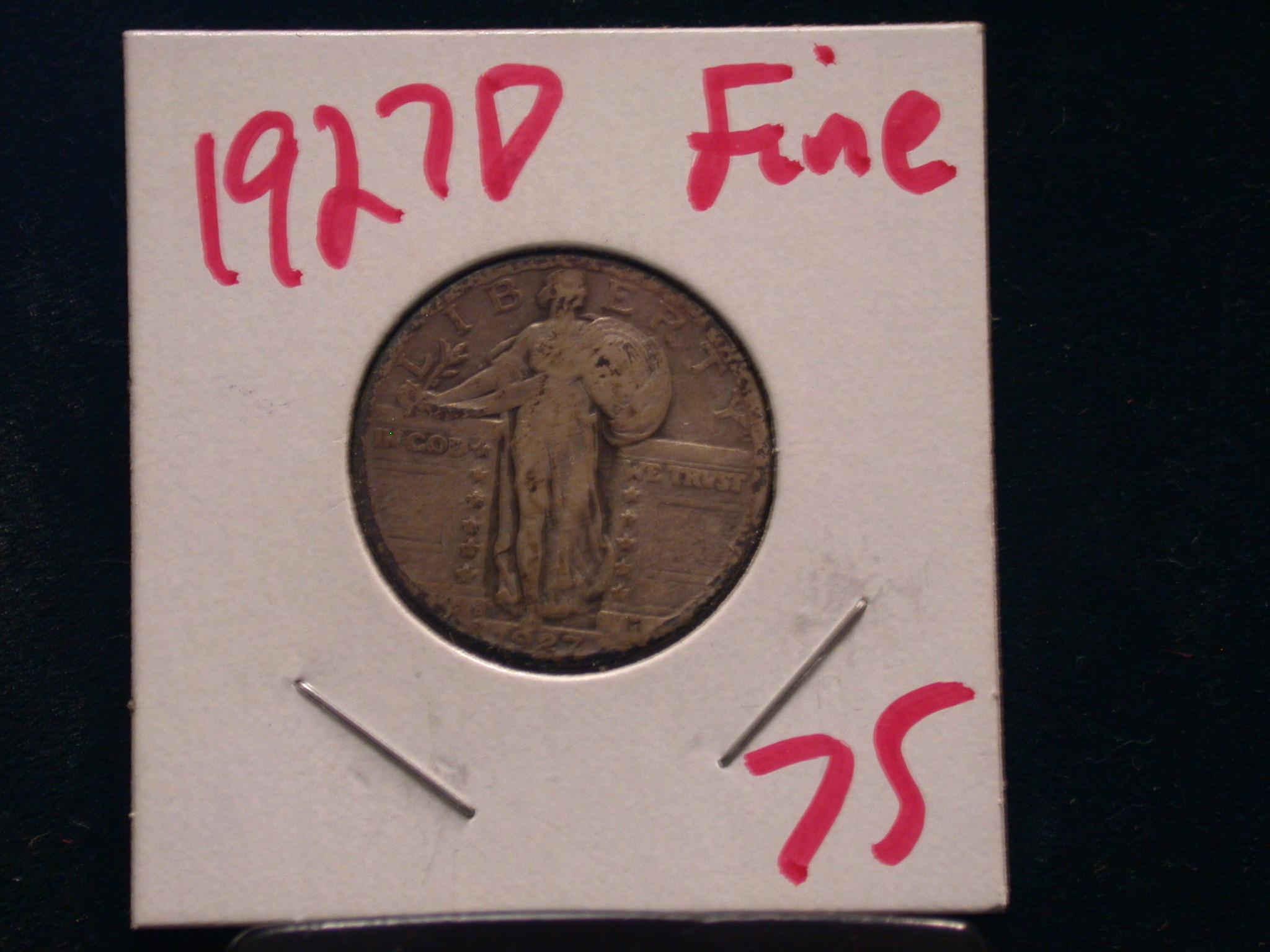 1927 D Standing Liberty Quarter in Fine! - Click Image to Close